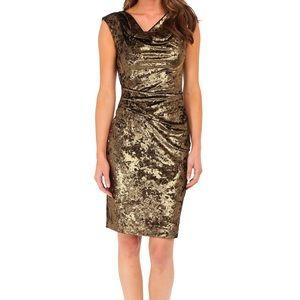 NWOT Vince Camuto Gold Velvet Dress